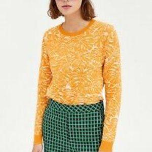Zara Yellow/Orange Palm Leaf Sweater Medium
